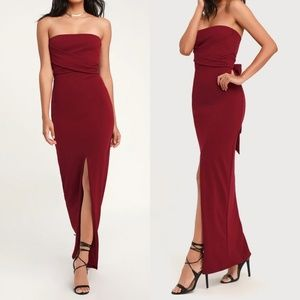 Own the Night Wine Red Strapless Maxi Dress